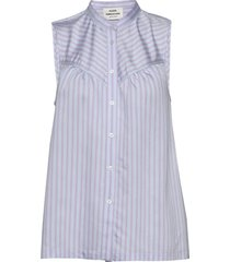 stripy visco stilja blouse mouwloos paars mads nørgaard