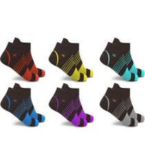 men's and women's ultra v-striped ankle compression socks - 6 pairs