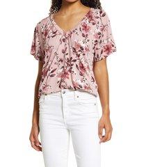 bobeau floral v-neck top, size large in pink floral at nordstrom