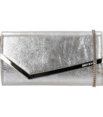 jimmy choo emmie clutch in silver leather