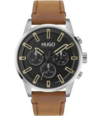 hugo men's #seek brown leather strap watch 44mm