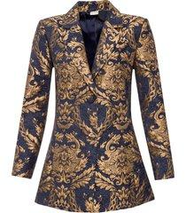 cappotto corto in fantasia jacquard dorata (blu) - bodyflirt boutique