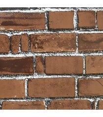 kit 2 rolos de papel de parede fwb tijolinho marrom rejunte rustico