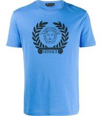 versace medusa head print t-shirt - blue