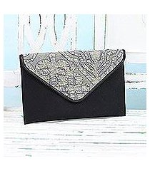 leather accent cotton tablet case, 'traveling style in black' (india)