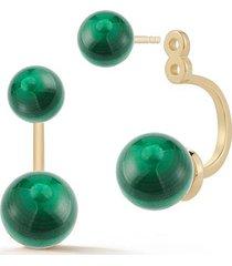 14kt gold malachite ear jacket earrings