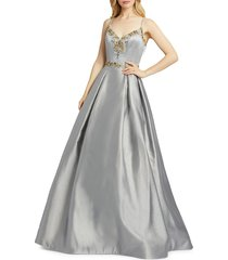 mac duggal women's bejeweled ball gown - platinum - size 12