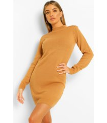 button shoulder detail knitted dress, camel