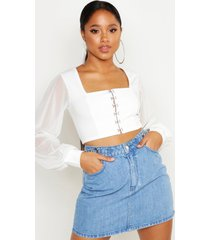 hook and eye cropped peasant top, ivory