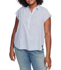plus size women's court & rowe floral stripe top, size 3x - blue