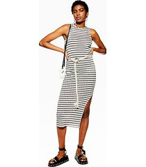 knitted belt dress - monochrome
