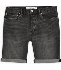 mens washed black stretch skinny denim shorts