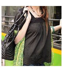 cotton blouse, 'black butterfly dreams' (india)