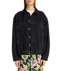 women's balenciaga oversized logo denim jacket, size 6 us / 38 fr - blue