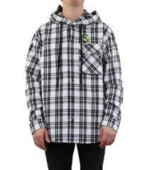 hoodie check shirt wit