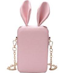 donne cute cartoon rabbit orecchio catena telefono borsa square borsa bucket borsa spalla borsa