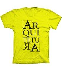 camiseta lu geek manga curta arquitetura amarelo