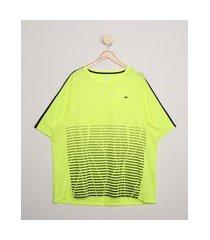 camiseta masculina plus size esportiva ace com recortes e listras manga curta gola careca amarela neon