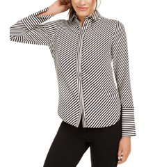 anne klein plus size striped slit-cuff blouse