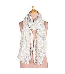 viscose blend shawl, 'white glory' (india)