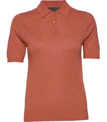 linen-blend sweater polo t-shirts & tops knitted t-shirts/tops rood banana republic