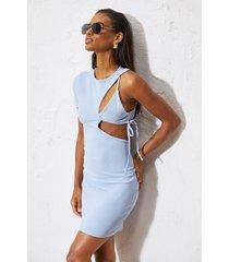 premium geribbelde mini jurk met bralette uitsnijding, dusty blue
