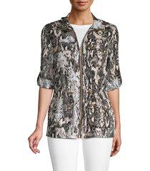 calvin klein women's linen snake print drawstring jacket - black latte - size xs