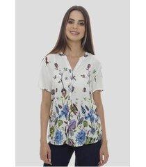 camisa estampada floral em viscose sob colorida feminina