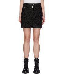 zebra print patch pocket front zip biker skirt
