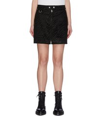 zebra print patch pocket front zip biker skirt