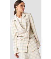 na-kd classic light checkered long blazer - beige
