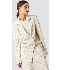 na-kd classic light checkered long blazer - white