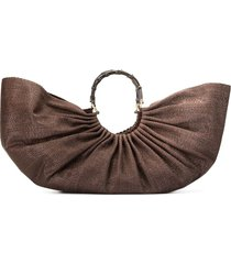 cult gaia large banu satin tote - brown