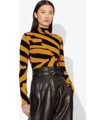 proenza schouler abstract animal print jacquard long sleeve turtleneck top 12249 black/ochre s