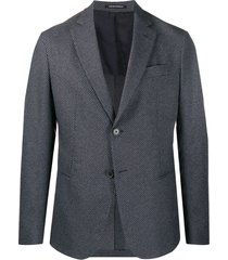 emporio armani all-over patterned tailored blazer - blue
