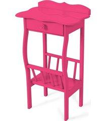 mesa lateral apoio sala revisteiro rosa vintage - rosa - dafiti
