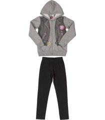 conjunto gris-negro-rosa bee loop