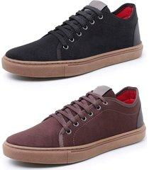 kit 2 sapatenis sandalo levit preto e cafe