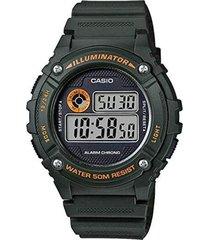 reloj digital hombre casio w-216h-3b - negro con naranja  envio gratis*