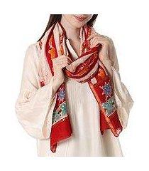 batik cotton-blend shawl, 'volcanic fire' (india)