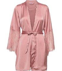 kimono satin lace morgonrock rosa hunkemöller