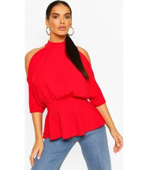 crepe cold shoulder peplum top, red