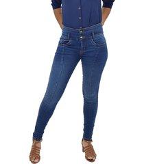 jeans bota tubo corte delantero
