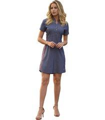 vestido mamorena chambrey com fita lateral azul