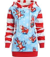 christmas snowflake striped plus size hoodie
