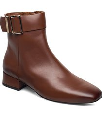 leather square toe mid heel boot shoes boots ankle boots ankle boot - flat brun tommy hilfiger