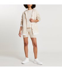 river island womens beige cable knit jersey tennis shorts