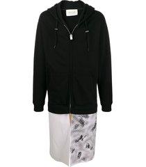 1017 alyx 9sm contrast long zipped hoodie - black