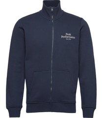m original zip jacket med grey mel sweat-shirt tröja blå peak performance