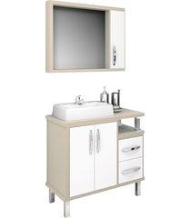 conjunto de banheiro são joão lótus, nude e branco, 80 cm